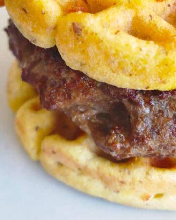 Carnivore waffle with hamburger