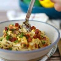 bowl of Keto Spaghetti Carbonara
