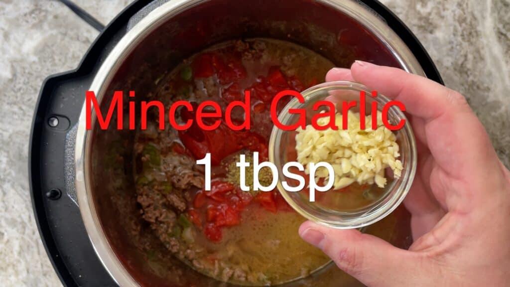 Instant Pot Chili minced garlic
