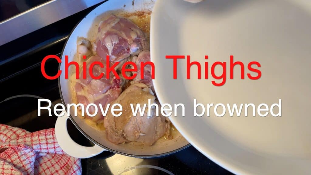 Ginger Braised Chicken Thighs Remove Chicken Thighs when browned