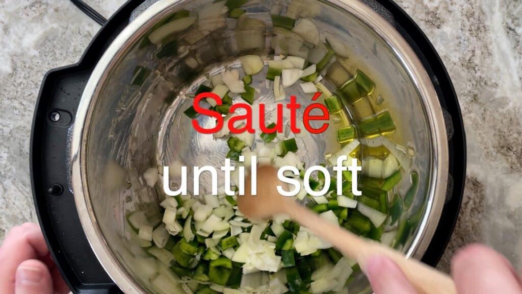 Instant Pot Chili saute until soft