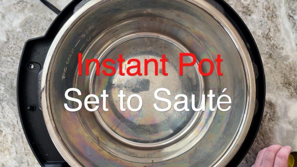 Instant Pot Chili set to saute