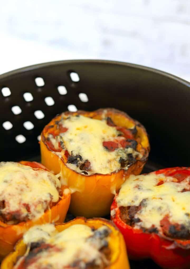 Stuffed peppers in air fryer basket