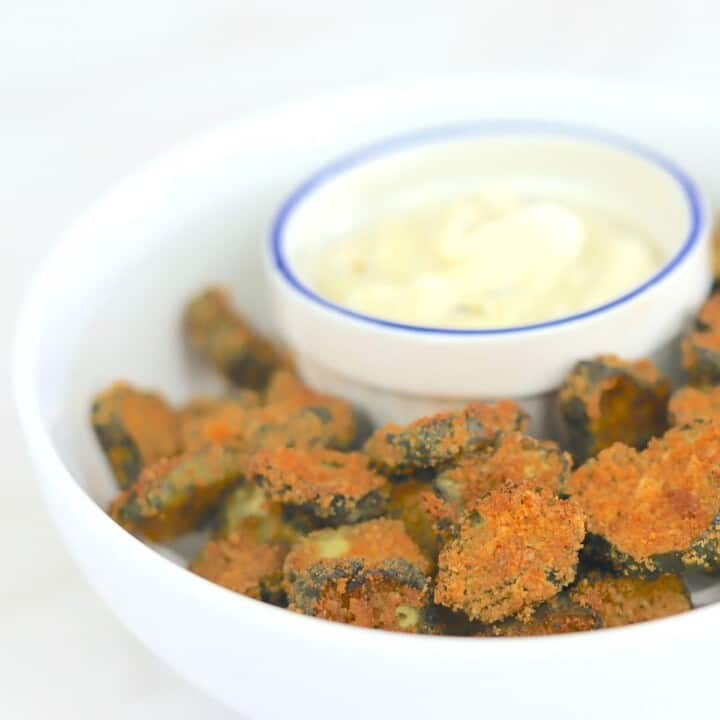 bowl of air fryer dill pickles and dip