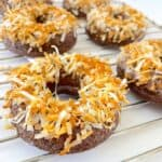 Low Carb Toasted Coconuts on a cooling rack