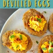Keto air fryer devilled eggs on a white plate