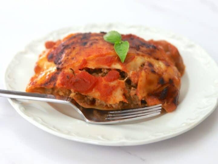 Lasagna slice on a plate