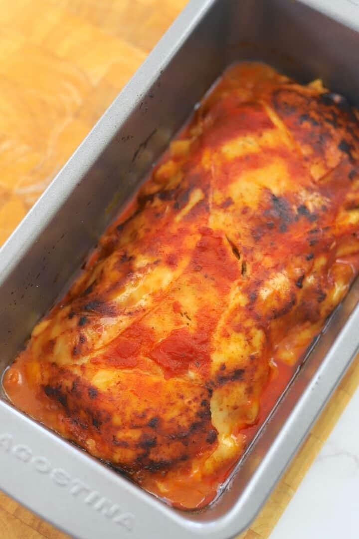 Baked lasagna in loaf pan