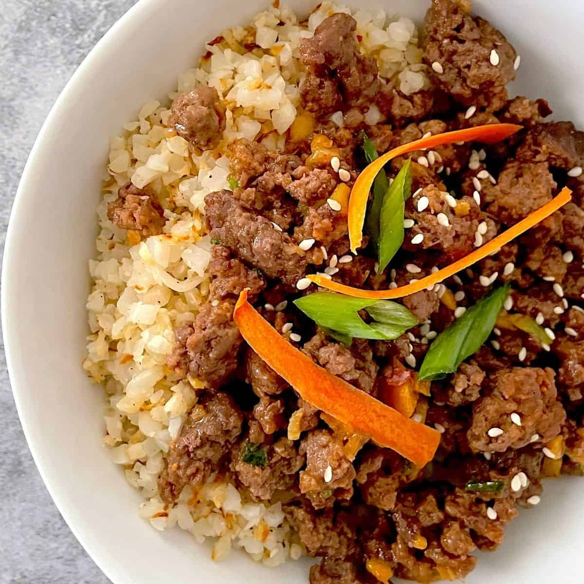 low carb hoisin beef in a white bowl