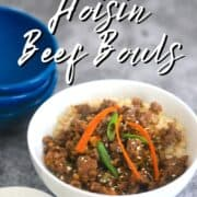 white bowl with low carb hoisin beef on a bed of cauliflower rice