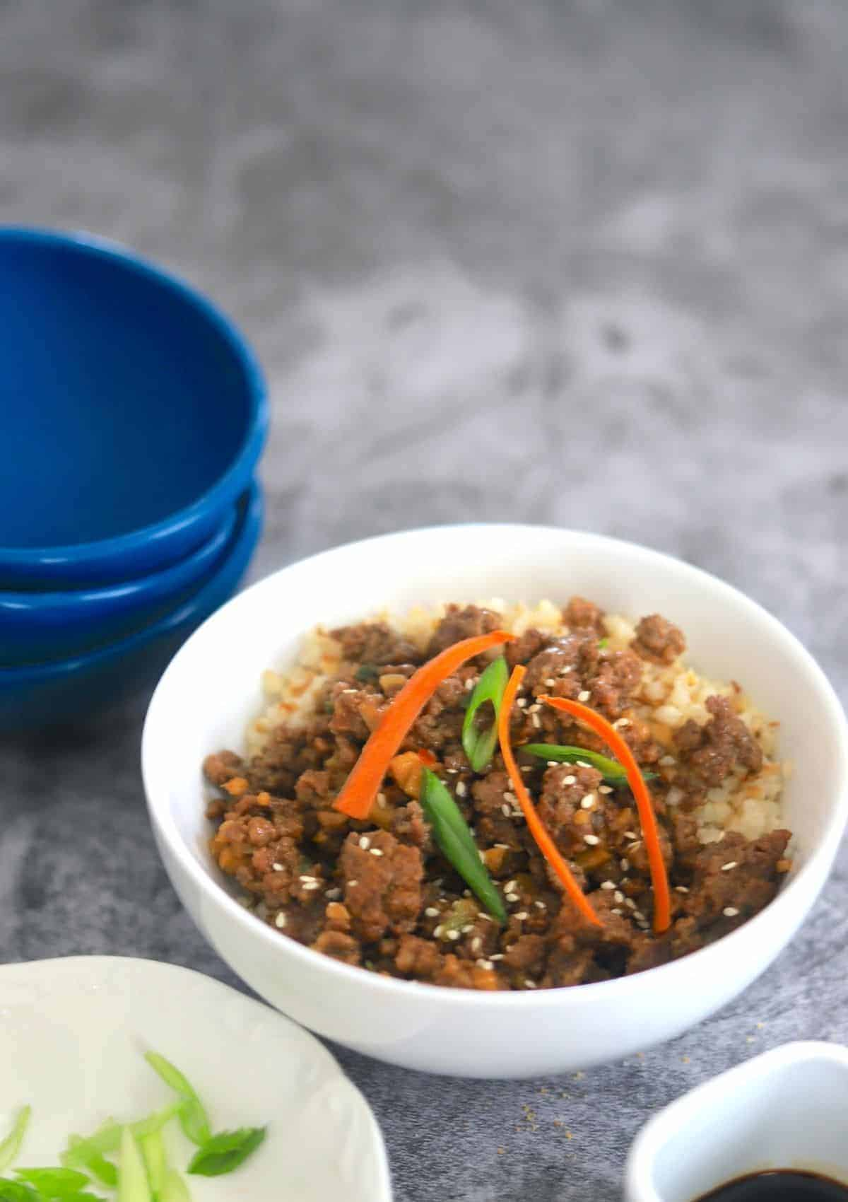 hoisin beef in a white bowl