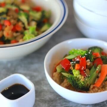 Veggie stir fry in a white bowl