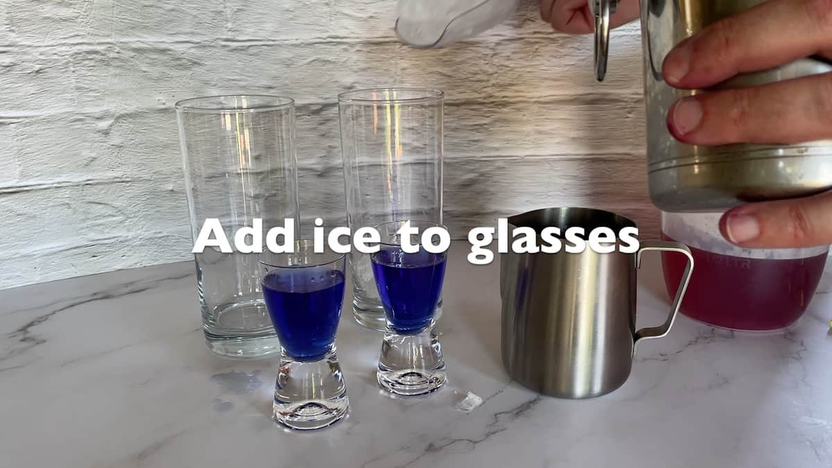 Add ice to glasses