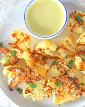 Roasted Cauliflower with a Low Carb Tahini Cilantro Dressing