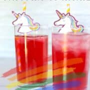 unicorn cocktails with a unicorn paper straw