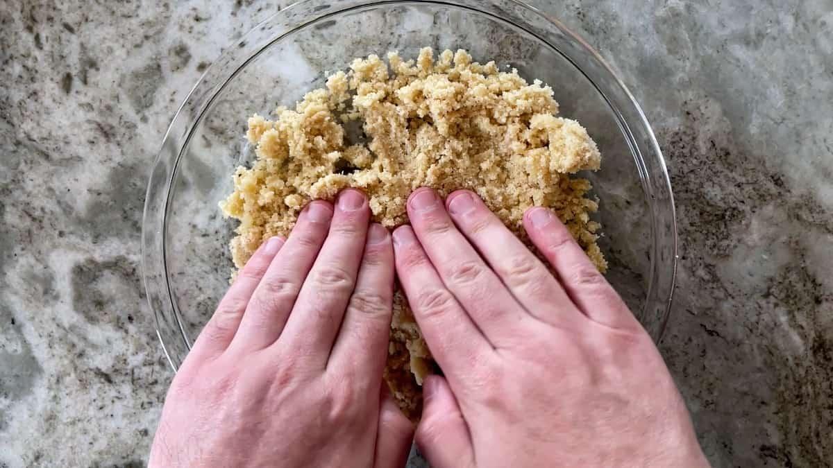 shaping pie crust in pan