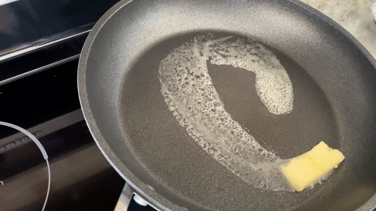add butter to frying pan