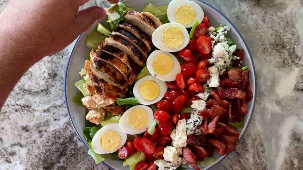 laying out the ingredients on the salad