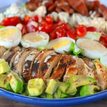 side view of chicken cobb salad