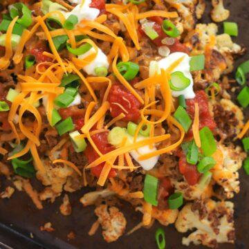 cauliflot panwer nachos on a shee