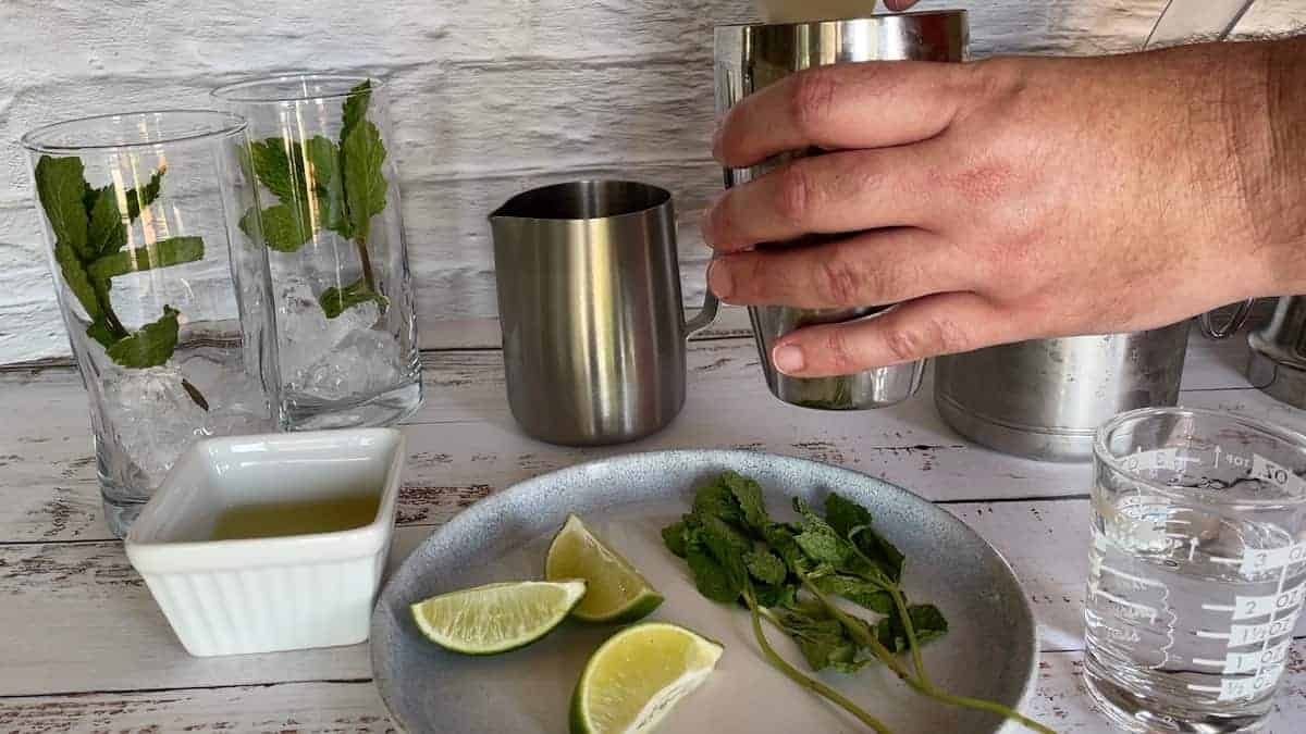 2 glasses with ice and a sprig of mint with a martini shaker a plate of lime wedges and mint
