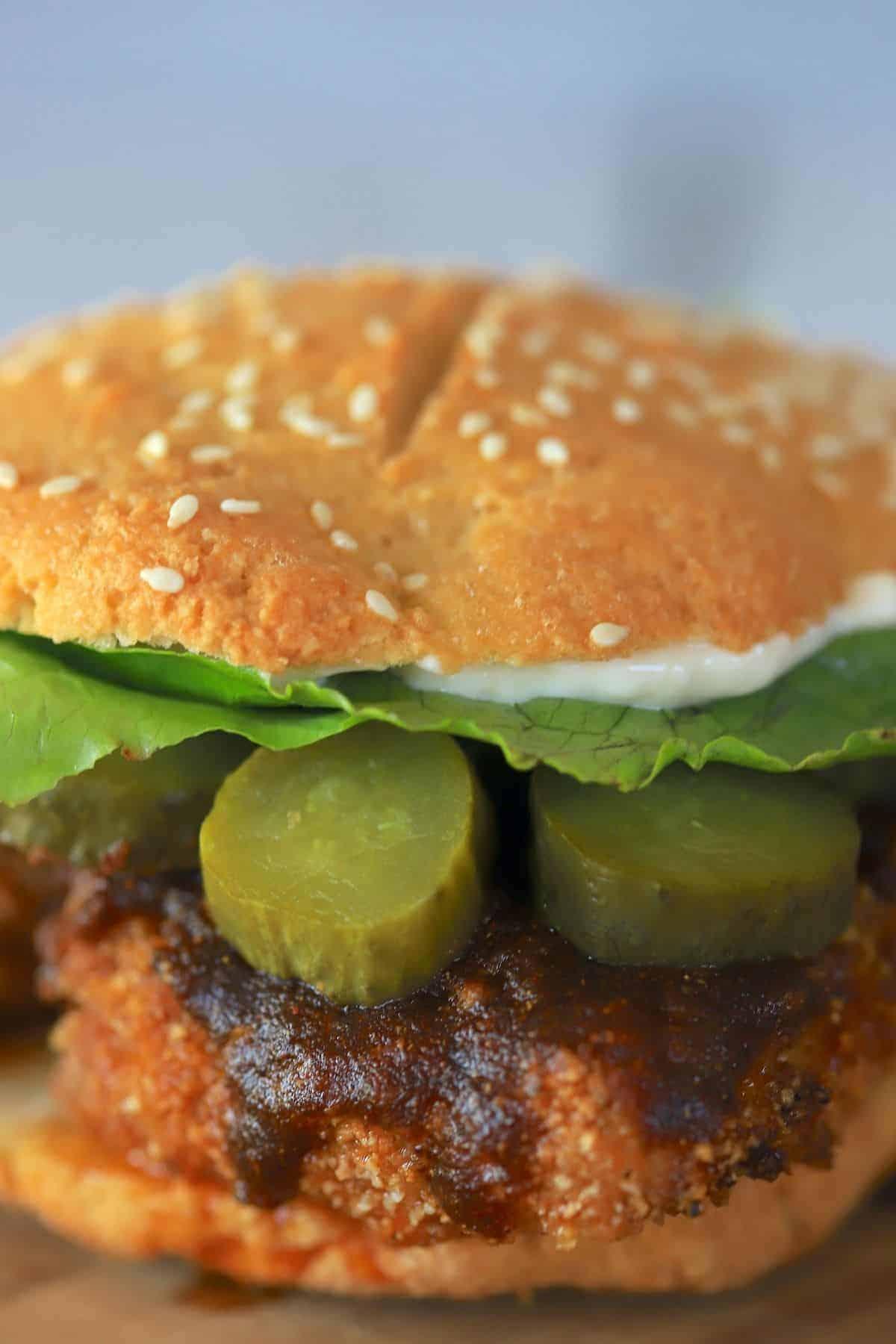 air fryer keto nashville hot chicken sandwich