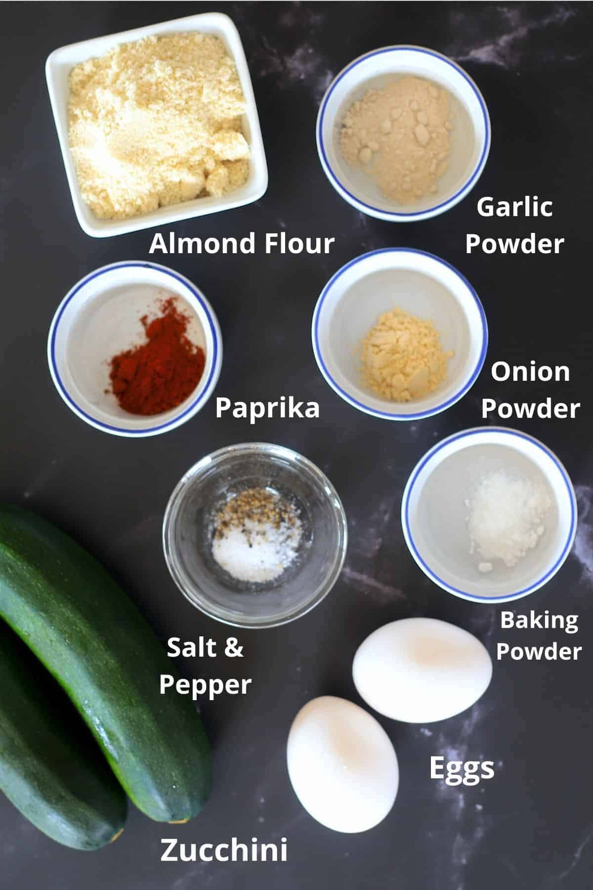 ingredients for the low carb zucchini fritters