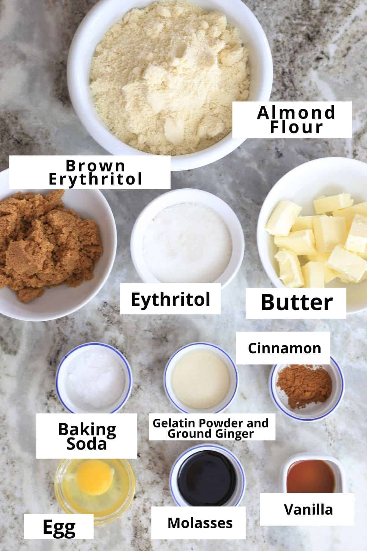 ingredients for the ginger molasses cookies