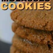 Ginger molasses cookies stacked on top of each other